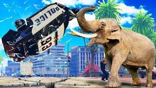 getlinkyoutube.com-ELEPHANTS VS COPS - ELEPHANT ATTACK CITY (GTA 5 MOD)