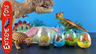 getlinkyoutube.com-Surprise Dinosaur Toy Eggs!  And a sticky Playdough Dino Mountain.