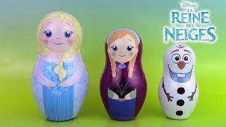 getlinkyoutube.com-Reine des Neiges Poupées Russes Gigognes Frozen Stacking Cups Nesting Dolls