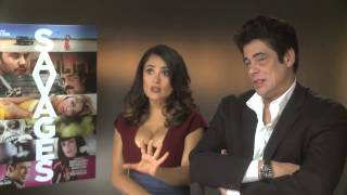 getlinkyoutube.com-Salma Hayek And Benicio Del Toro -- Savages DVD Interview | Empire Magazine