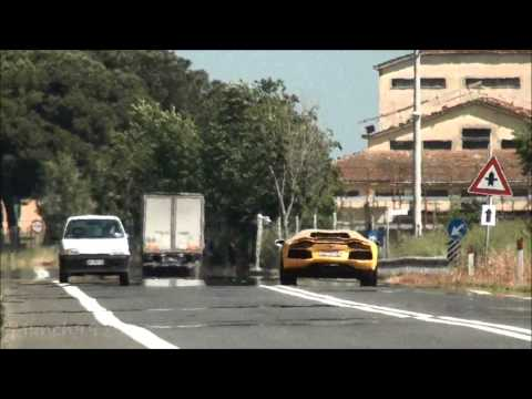 Fast And Furious Flybys! Lamborghini 50th Tour 2013 - Aventador 150mph flyby + Loud sounds