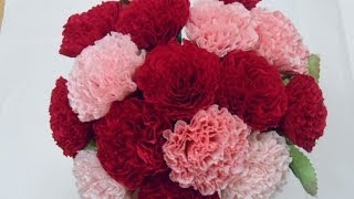 getlinkyoutube.com-[Paper flower/종이꽃] 4. 주름지 카네이션 how to make crepe paper Carnation flowers, mothers day gifts