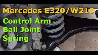 getlinkyoutube.com-How to replace the lower control arm, ball joint and spring on a Mercedes E320 W210 W124 series.