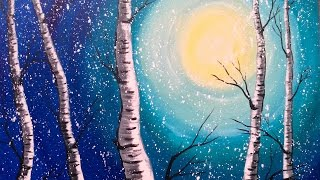 getlinkyoutube.com-Beginner Acrylic Painting Class  Birch Trees  #lovewinterart