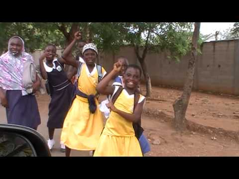 School girls in Accra, Ghana strike a pose for the camera....