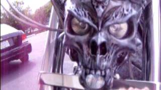 getlinkyoutube.com-Blue flame Alley 3d Customs  Demon Bike headlight  2010...Giger style 3D custom motorcycle art!