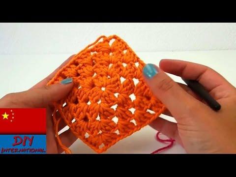 简单基础钩针:老奶奶钩针  方形 垫子 钩针 杯垫 围巾