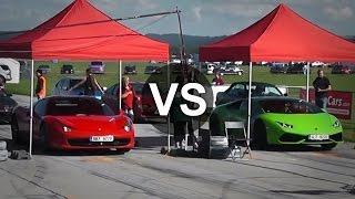 getlinkyoutube.com-Lamborghini Huracan Vs Ferrari 458 Italia Drag Race - DRAGINFO