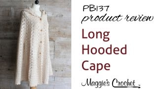 getlinkyoutube.com-Long Hooded Cape Crochet Pattern PB137 Review
