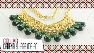 getlinkyoutube.com-Como hacer collar de cadena y lágrima acrílica verde | VARIEDADES CAROL