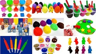 getlinkyoutube.com-Learn Colors Mega Compilation Play-doh Clay Slime Putty Clay Surprise Eggs