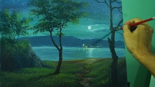 getlinkyoutube.com-Acrylic Landscape Painting Lesson - Moonlight Over the Sea by JM Lisondra