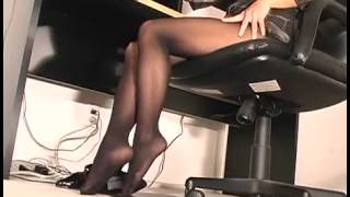 getlinkyoutube.com-Gorgeous petite secretary working in black pantyhose