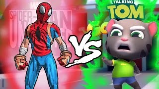 getlinkyoutube.com-Spider-Man Unlimited VS Talking Tom Gold Run EPIC BATTLE!