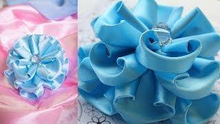 getlinkyoutube.com-Голубой Цветок Канзаши / Пышный бант / МК / DIY / kanzashi tutorial
