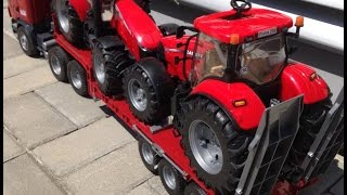 getlinkyoutube.com-BRUDER Toys Scania Low loader truck Tractor CASE Massey Ferguson