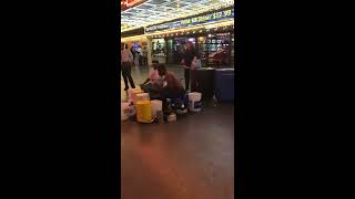 Las Vegas Bucket Drum Street Performance Breaks into Fight