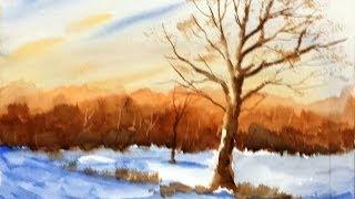 getlinkyoutube.com-Paint Along with Larry Hamilton- Watercolor-Snowy-Indiana-Sunset