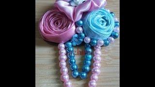 jewelry 5: make rolls flower for pin using satin ribbon #DIY @azhira