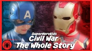 getlinkyoutube.com-The Whole Story: Civil War Captain America vs Ironman Spiderman fun in real life superherokids movie