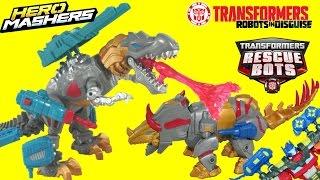 getlinkyoutube.com-Transformers Hero Mashers Electronic Grimlock and Slug Dinobots w/ Optimus Prime and Rodimus