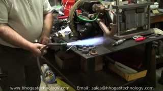 getlinkyoutube.com-HHO Gas Machine 59 Liters Per Minute Heating Up Massive Thick Copper & Running Water Heater Burner
