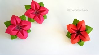 getlinkyoutube.com-Origami Flower : : Flor de papel 4 Pétalos