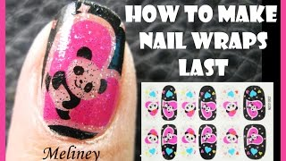 HOW TO MAKE NAIL WRAPS LAST LONGER FULL COVER PANDA NAIL ART STICKER DESIGN TUTORIAL FOR SHORT NAILS