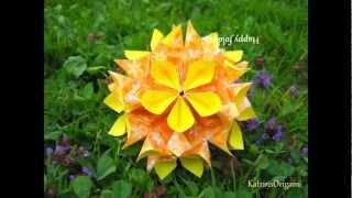 getlinkyoutube.com-Origami ✿⊱╮ Floristry 2 ✿⊱╮ Kusudama