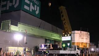 getlinkyoutube.com-AR-5500M国産最大のクレーン車で歩道橋の架設Crane TADANO 前半