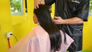 getlinkyoutube.com-Long hair cut to bobcut