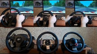 getlinkyoutube.com-Trustmaster T500, Logitech G27 and DFGT sound test feedback. Assetto Corsa  driving