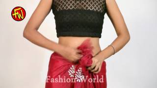 getlinkyoutube.com-How To Wrap A Saree - beautiful red hot shida pallu saree