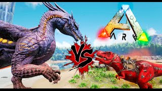 getlinkyoutube.com-!!! EPICO !!! DRAGON VS T REX ALPHA !! ARK SURVIVAL EVOLVED Ark minigame Makiman