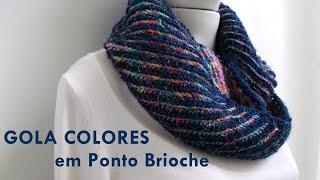 getlinkyoutube.com-Gola Colores em Ponto Brioche- Vídeo Aula da Novelândia