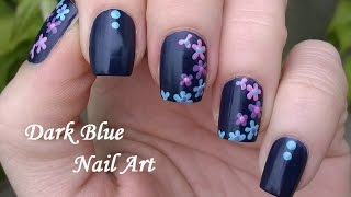 getlinkyoutube.com-Dark Blue FLORAL NAILS / Colorful Flower Design - Toothpick Nail Art Tutorial #6