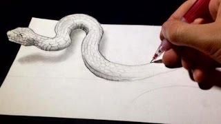 getlinkyoutube.com-Drawing Anamorphic Snake - Optical Illusion
