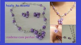 getlinkyoutube.com-como hacer un lindo collar y aretes con perlas y cadena
