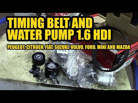 How to replace a timing belt and water pump 1.6 HDI on a Peugeot, ... ect.