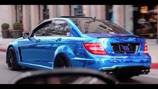 getlinkyoutube.com-C63 AMG Sedan with Blue Chrome wrap cruising in Beverly Hills, CA