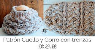 getlinkyoutube.com-Patrón para tejer un Gorro y Cuello con trenzas en dos agujas