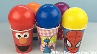 getlinkyoutube.com-Elmo Spider Man Balls Surprise Cups with Mickey Mouse and Minnie Mouse Toys