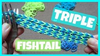 getlinkyoutube.com-Rainbow Loom Bracelet Triple Fishtail without Loom/ on 2 Forks