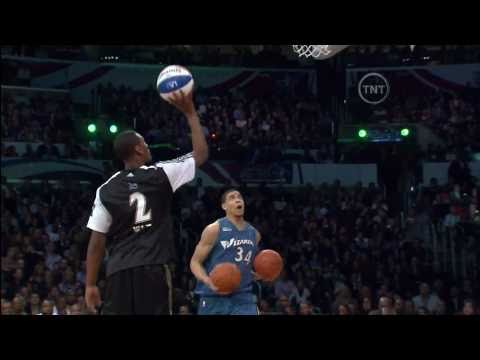 JaVale McGee Dunks 3 Ball's At Once (John Wall Pass 2-19-2011) NBA Dunk Contest