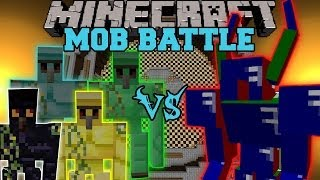 getlinkyoutube.com-Diamond Golem, Emerald Golem, Gold Golem and Obsidian Golem Vs. Apis - Minecraft Mob Battles