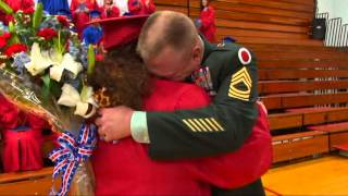 Military Dad Surprises Daughter at High School Graduation