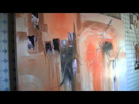 Abstract acrylic painting Demo - Abstrakte Malerei -- Orange Power by Sabine Belz