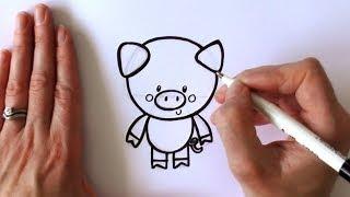 getlinkyoutube.com-How to Draw a Cartoon Pig