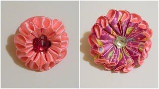 getlinkyoutube.com-2 способа как сделать цветок зефирку из лент