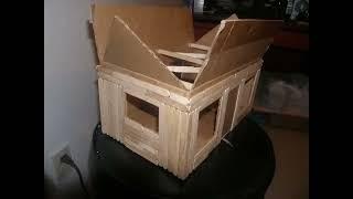 getlinkyoutube.com-Cardboard/Popsicle stick house with lights.